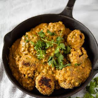 Vegan Chickpea Meatballs in Creamy Curry Cashew Sauce.