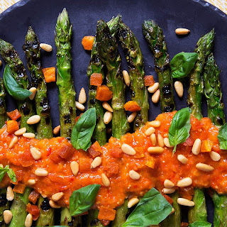 Grilled Asparagus with Apricot and Pine Nut Romesco Recipe