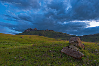 """Photo: """"The Garden Castle"""" Southern Drakensberg Mountains South Africa  Following up from my photo posted last Monday showing a different perspective of this iconic peak taken at dawn, here's one from a moody sunset taken in """"blue hour"""". I blended 3 exposures to get the look & feel of what I was experiencing and seeing in front of me. Have a great week, folks!  Photo taken with: Nikon D800, Nikkor 14-24mm f2.8  This photo is Copyrighted © Morkel Erasmus Photography.  You may share this image as presented here under the Creative Commons Attribution-NonCommercial-NoDerivs 3.0 licence (CC BY-NC-ND 3.0).  More info: http://creativecommons.org/licenses/by-nc-nd/3.0/  Submission for: 1. #mountainmonday +Mountain Monday curated by +Michael Russell  2. #moodymonday +Moody Monday curated by +Philip Daly , +Carole Buckwalter  3. #NatureMonday +NatureMonday curated by +Rolf Hicker , +Jen Baptist  4. #hqsplandscape +HQSP Landscape curated by +Ara MO , +Delcour Eric , +Blake Harrold  5. #LandscapePhotography +Landscape Photography curated by +Margaret Tompkins , +Carra Riley , +paul t beard , +David Heath Williams , +Bill Wood , +Jim Warthman , +Ben T , +jeff beddow ,+Jeannie Danna , +Tom Hierl , +Vishal Kumar  6. #plusphotoextract curated by +Jarek Klimek   #bluehour  #mountain  #Drakensberg  #SouthAfrica  #landscape  #nature  #hiking  #peace"""