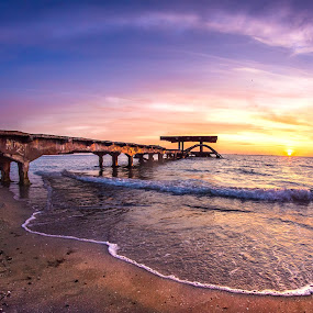 Black Sea sunrise by Adrian Ioan Ciulea - Buildings & Architecture Bridges & Suspended Structures ( water, sea, beach, sunrise, suspended, abandoned )
