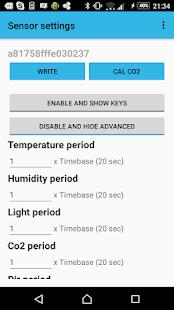 Sensor settings - náhled