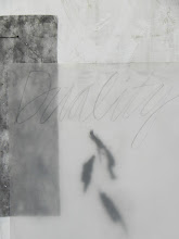 Photo: detail: DUALITY canvas w. vellum, calligraphy, wire, bark, oil-absorbing car pads