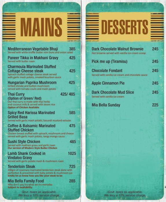 Mia Bella menu 5