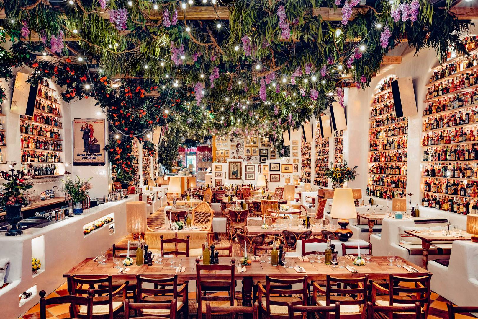 Ceiling covered in indoor plants at  Circolo Popolare restaurant.