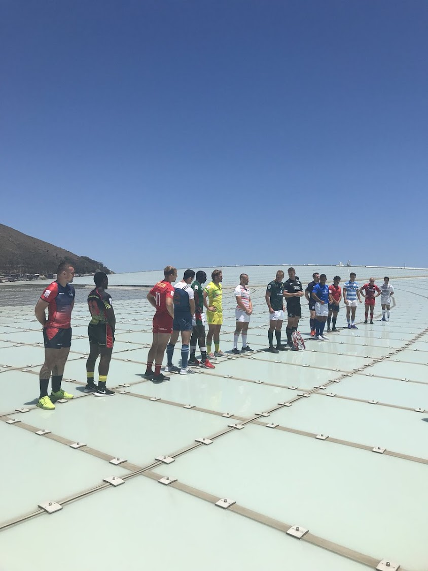 Blitzboks lined up on the Cape Town Stadium's roof for a photo shoot on Tuesday.