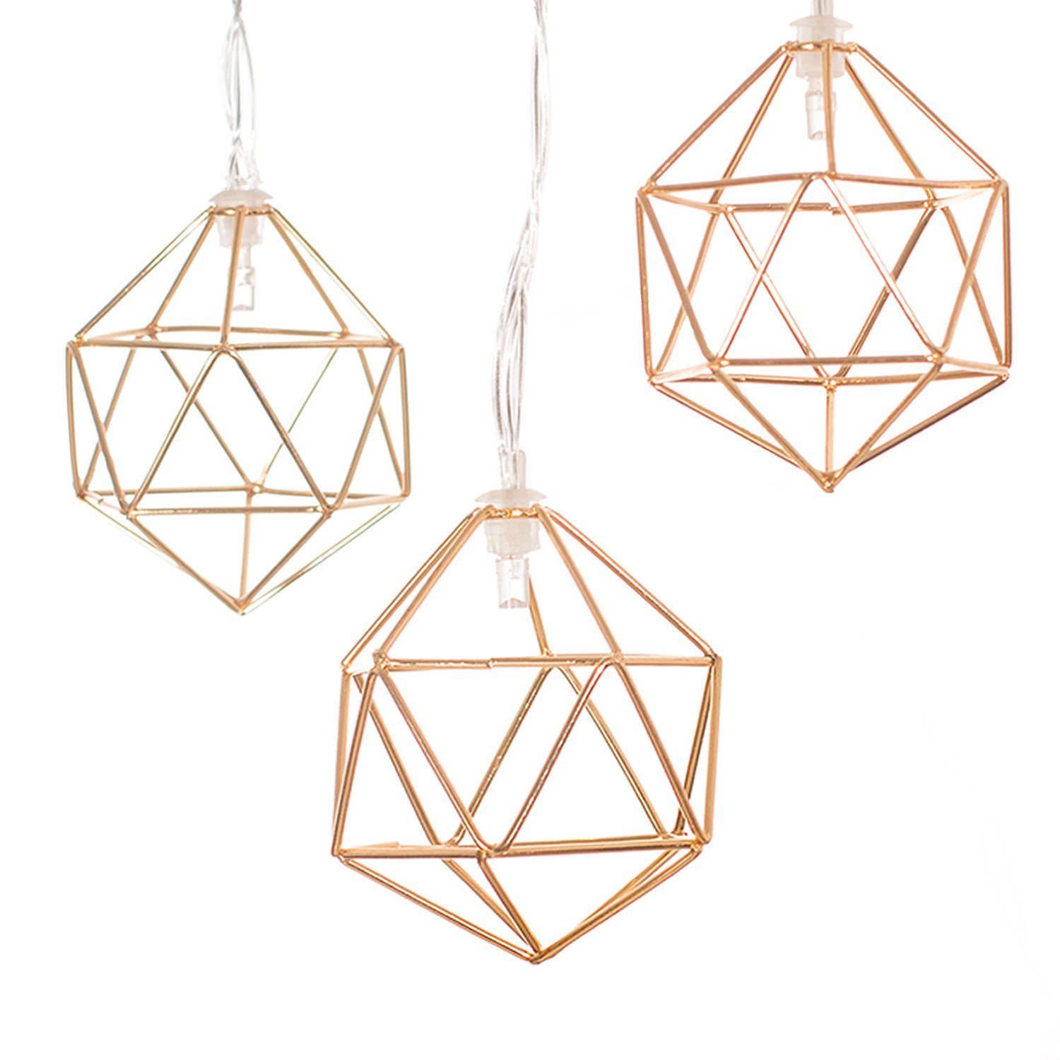 Three gold geometric string lights