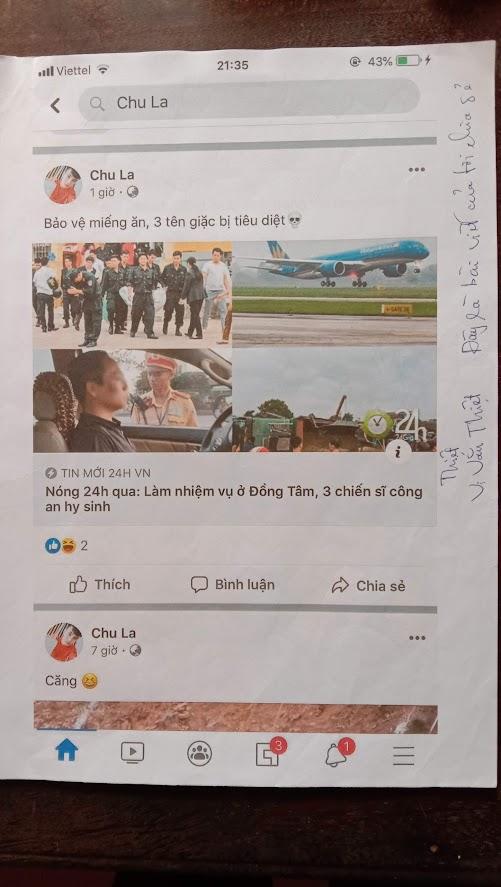 Một trong nhiều bài viết do Vi Văn Thiệt chia sẻ kèm tiêu đề xúc phạm lực lượng CAND được đăng lên Facebook của cá nhân.