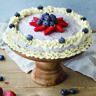 Blueberry Vanilla Ice Cream Cake Recipe with Cream Cheese Frosting.
