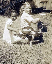 Photo: L to R - Pee Wee (One of my Mom's best friends as a child), Suzanne Gardner (Mom) feeding pigs @ Rollins home. 1941