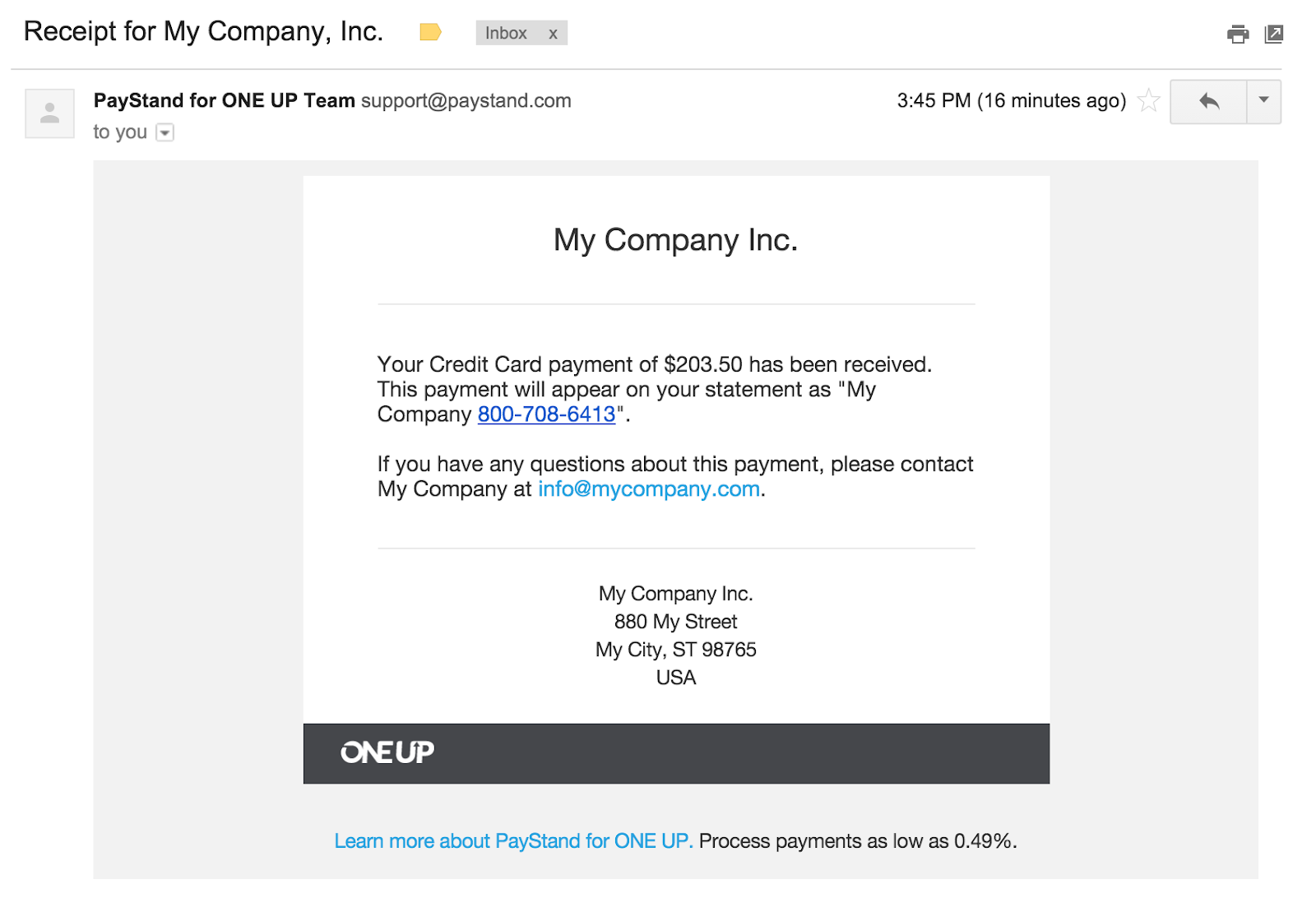 OneUp Payments by PayStand ONE UP Knowledge Center – A Receipt of Payment