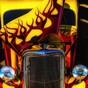 Fiery Paint Job by Dave Walters - Transportation Automobiles ( automobiles, crusin the oast 2018., hot rods, lumix zs19, colors )