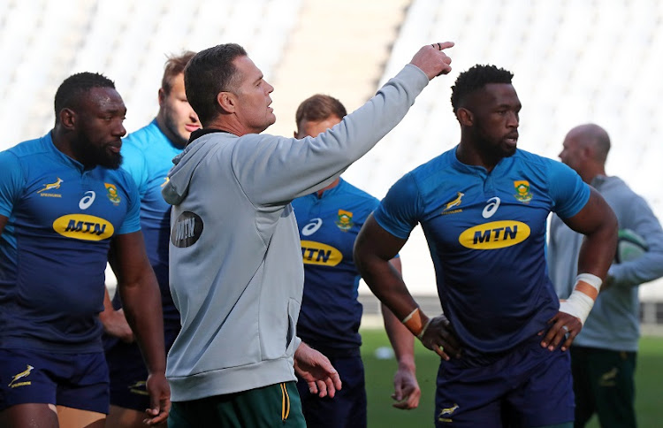 Rassie Erasmus, Coach of South Africa during the 2018 Rugby International, South Africa Training Session at Cape Town Stadium, Cape Town on 19 June 2018.