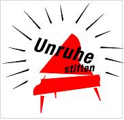 Logo: Unruhestiften. Lärmendes Klavier (Flügel).