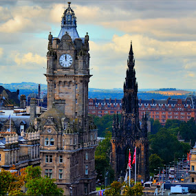 overlooking princes st from calton hill by Nic Scott - City,  Street & Park  Street Scenes ( scotland, edinburgh, street, princes st, view,  )