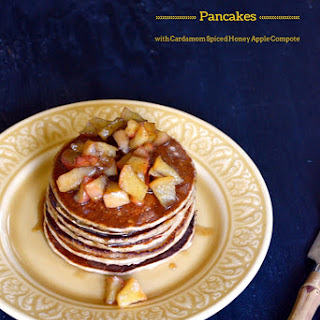 Apple Cinnamon Pancakes with Cardamom Spiced Honey Apple Compote