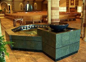 Photo: OCTAGONAL BAPTISMAL FONT  Cast concrete overlaid with granite and inlaid mosaic tesserae; St. Martha Catholic Church, Murrieta, CA