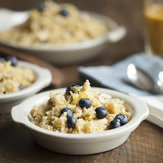Lemon Scented Quinoa and Millet Breakfast with Blueberries (gluten free).
