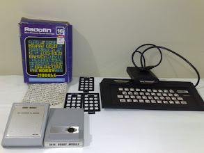 Photo: Radiofin Hobby Module (3016) for Fountain Video Game / Hanimex etc assembly level programming, Spectravideo CompuMate (for Atari 2600) for basic programming and saving to tape.