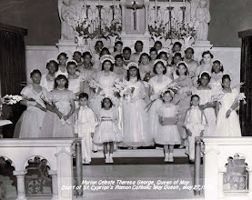 Photo: 1956 May Procession Court_Marian Celeste Theresa George-May Queen_St Cyprian Parish