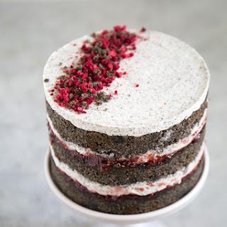 Raspberry Black Sesame Cake