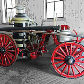 Horse-drawn Fire Engine  by Dee Haun - Transportation Other ( fire engine, fire company, gold trim, 180605f3174e2, horse drawn, red, south carolina, charleston, amoskeg, boiler, amoskeg 439, american fire engine company, 439, 1900,  )