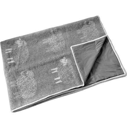 Pläd grå med fluffigt grått får med strålskyddstyg