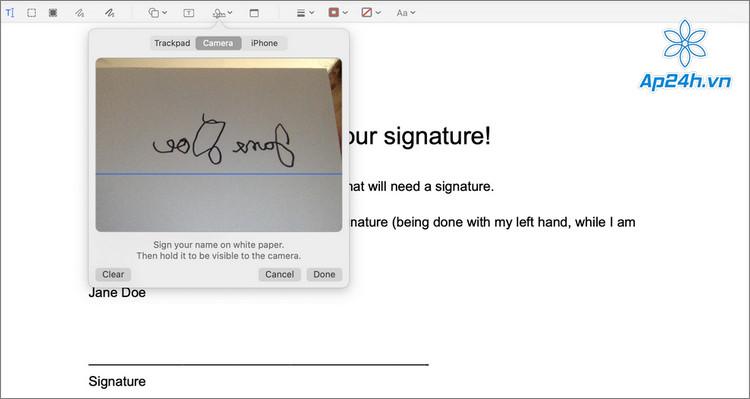 Tạo chữ ký điện tử trên PDF bằng camera