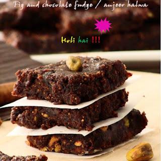 Fig and chocolate fudge / anjeer halwa or barfi for Holi