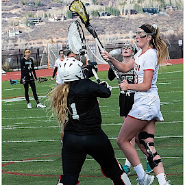 Over the Top! by George Kremer - Sports & Fitness Lacrosse ( goalie, goal, sports, athlete, shooting, team, scholastic sports, score, teammates, action, shoot, tall, sport, athletic, lacrosse, women )