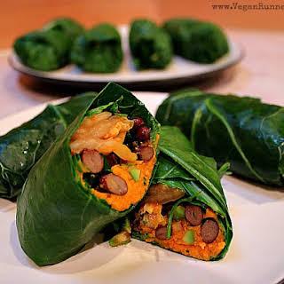 Vegan Collard Wraps with Kimchi and Sweet Potato Filling.