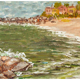 By the sea... by Morris Kleyman - Painting All Painting ( colors, watercolors..., places, landscapes )