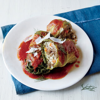 Stuffed Savoy Cabbage with Tomato Sauce