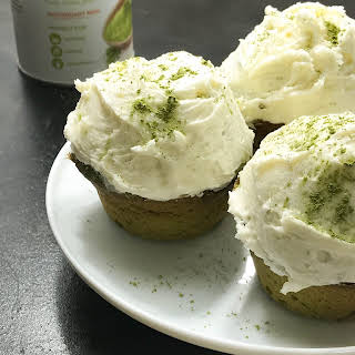 Japanese Style Matcha Cupcakes with Almond Buttercream Frosting.