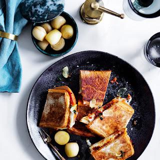 'Nduja and mozzarella ciabatta with garlic and thyme oil.