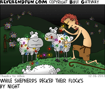 decking sheep with lights