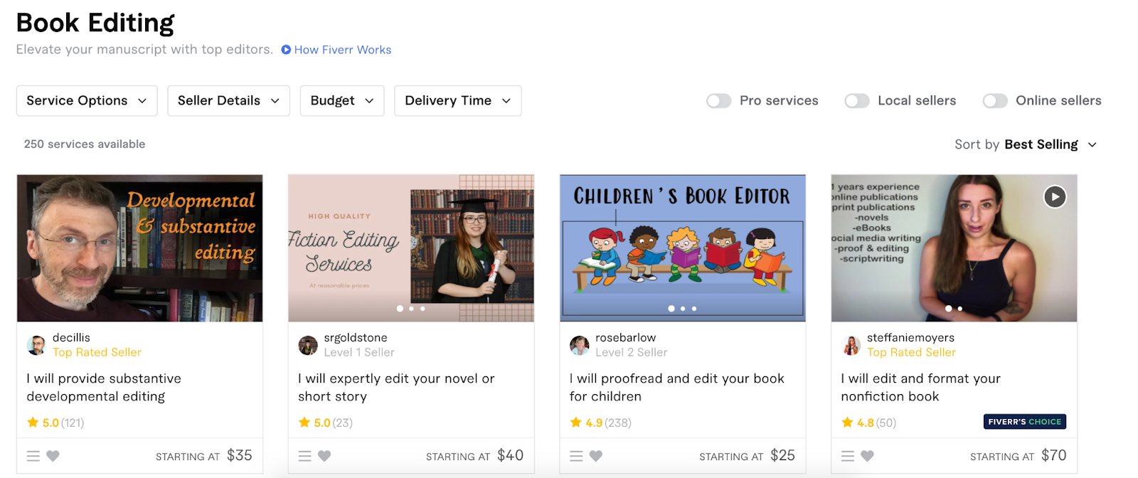 Sorting Fiverr listings by Service Options