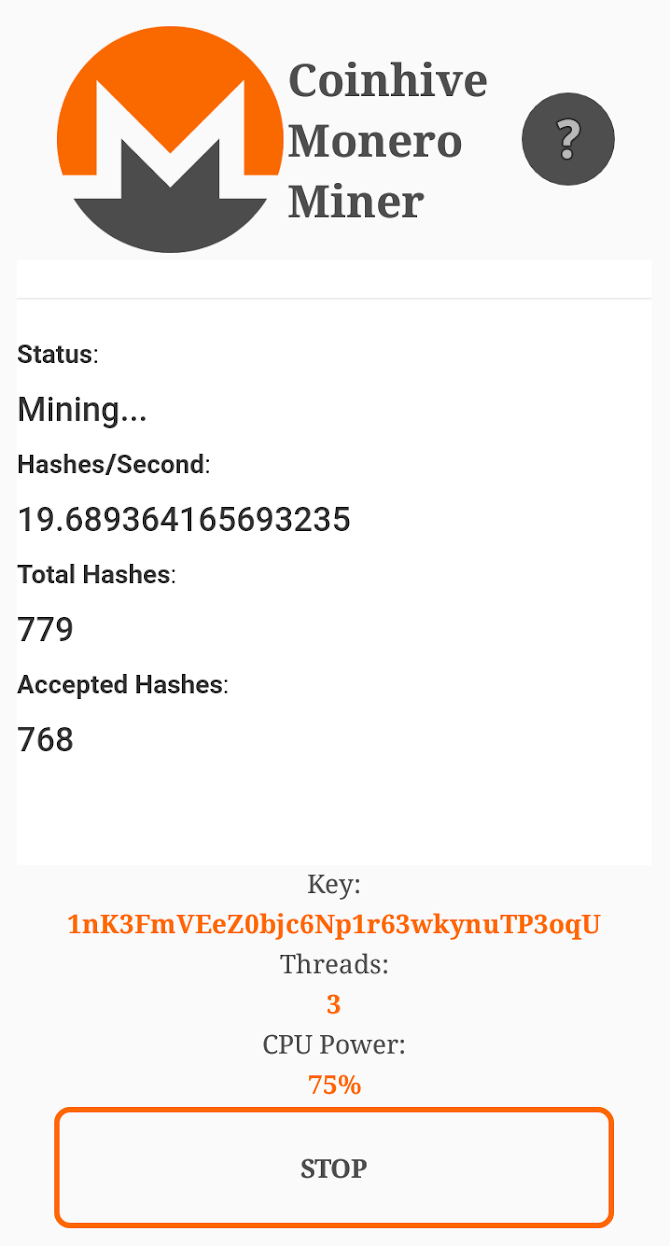 Coinhive Monero Miner Android 2