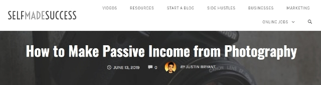 Passive income source website header from selfmadesuccess. The site contains passive income examples.