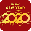 New Year greeting card 2020 icon