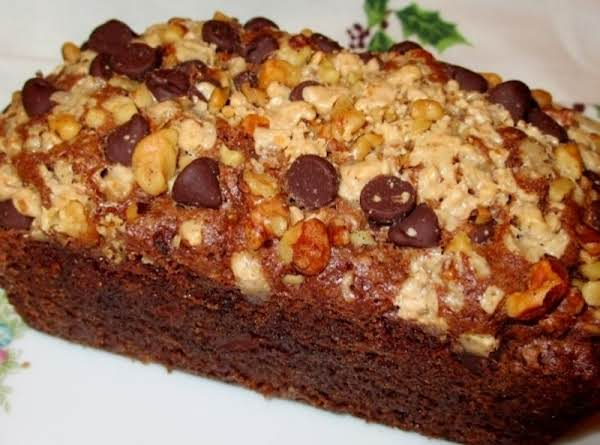 Chocolate Zucchini Bread With Toffee Walnut Topping