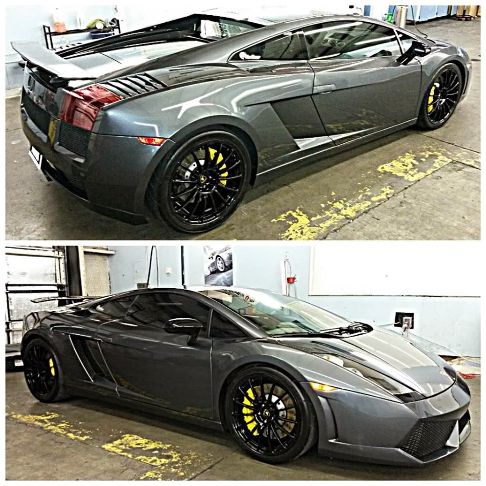 Photo: Gray Lamborghini Gallardo Garland Window Tint installation at our main location.