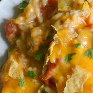 Cheesy Fiesta Chicken and Rice Casserole.