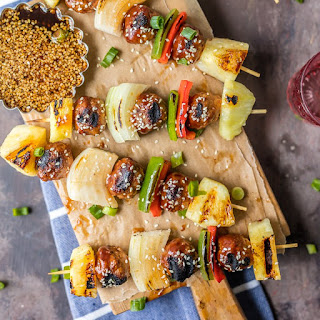 Chicken Teriyaki Meatball Skewers