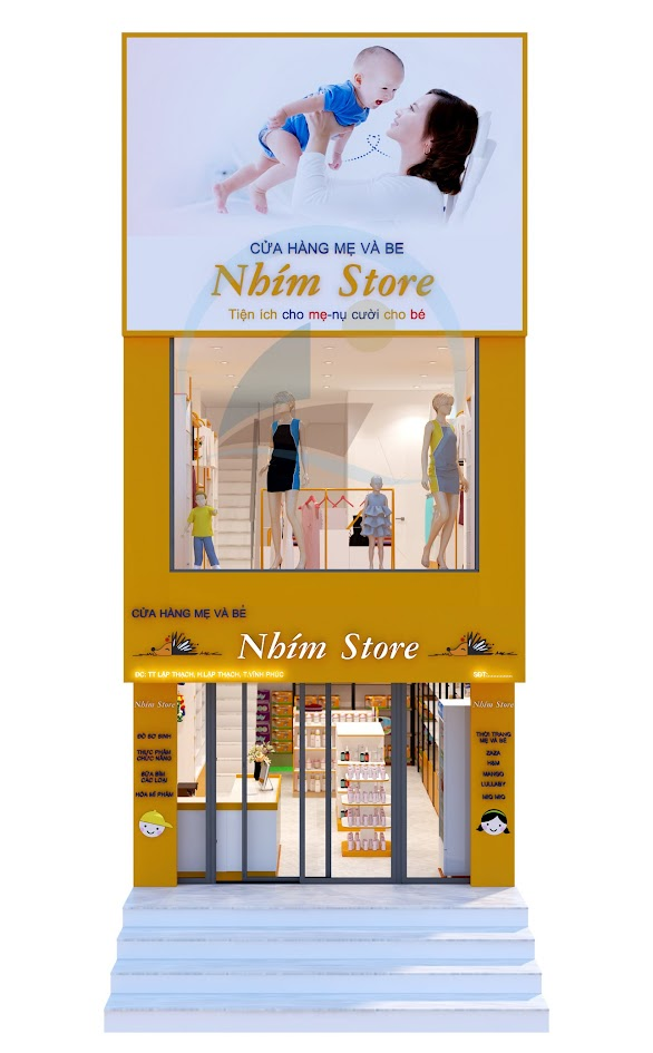 thiết kế shop mẹ và bé nhím store 1
