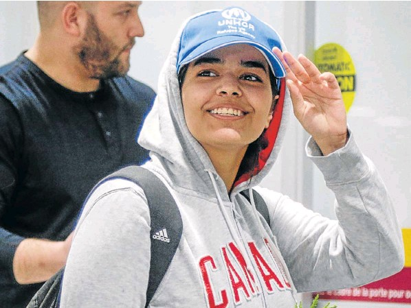Rahaf Mohammed al-Qunun arrives at Toronto Pearson International Airport in Ontario, Canada. 14 January 2019