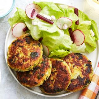 Vadouvan-Spiced Vegetable Fritters with Lemon Yogurt & Butter Lettuce Salad Recipe