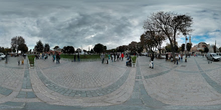 Photo: Central courtyard between the Hagia Sophia and the Blue Mosque. Both of these are massive, beautiful pieces of architecture. They are truly a sight to see, and even the photosphere doesn't do them justice.