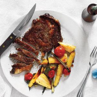 Steak With Roasted Parsnips and Tomatoes