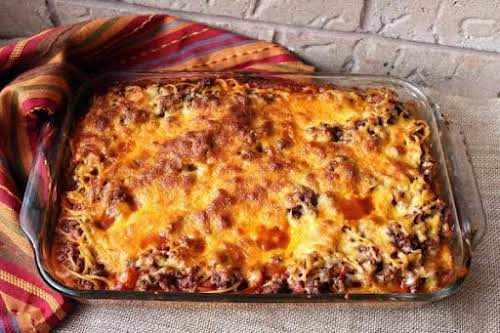 "Taco Spaghetti Casserole""An easy prep casserole that cooks in one pot before..."