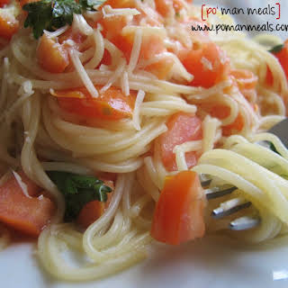 Angel Hair Pasta With Tomatoes And Parmesan.